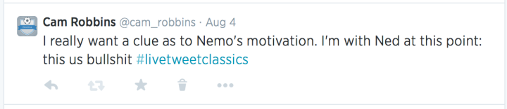 I really want a clue as to Nemo's motivation. I'm with Ned at this point: this us bullshit #livetweetclassics